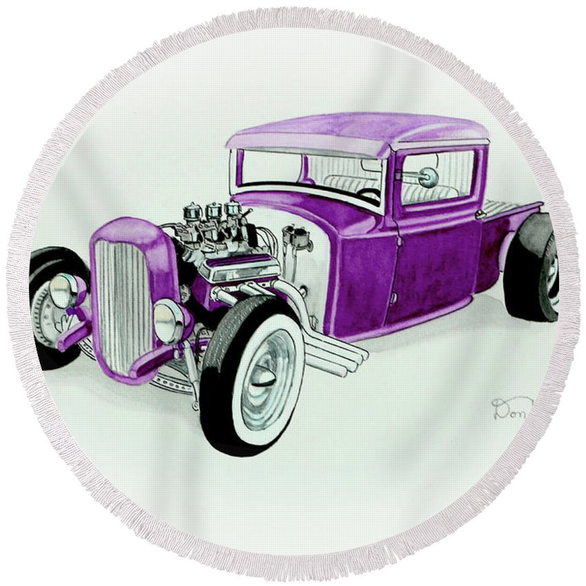 1920's Hotrod Pickup Round Beach Towel featuring the painting 1920s Hotrod Pickup by Donald Koehler