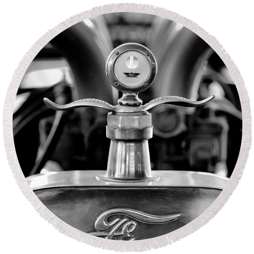 1923 Ford Round Beach Towel featuring the photograph 1923 Ford Hood Ornament 2 by Jill Reger