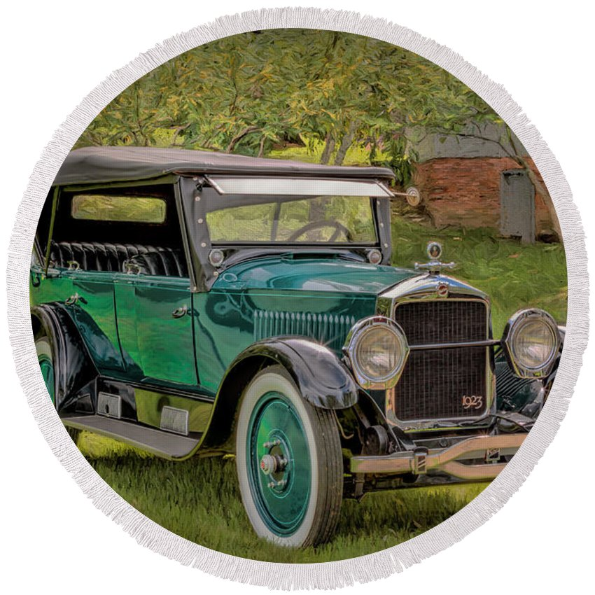 Car Round Beach Towel featuring the photograph 1923 Studebaker Big Six Touring Car by Susan Rissi Tregoning
