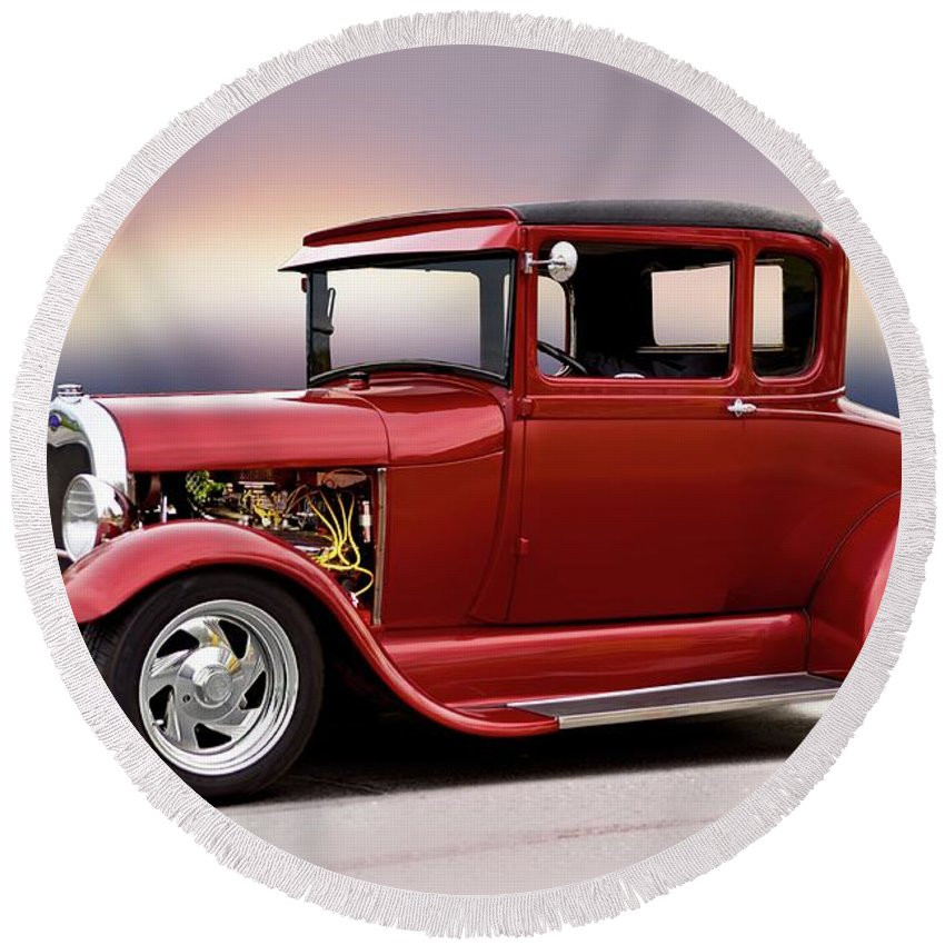 Auto Round Beach Towel featuring the photograph 1928 Ford 'hot Rod A' Coupe by Dave Koontz