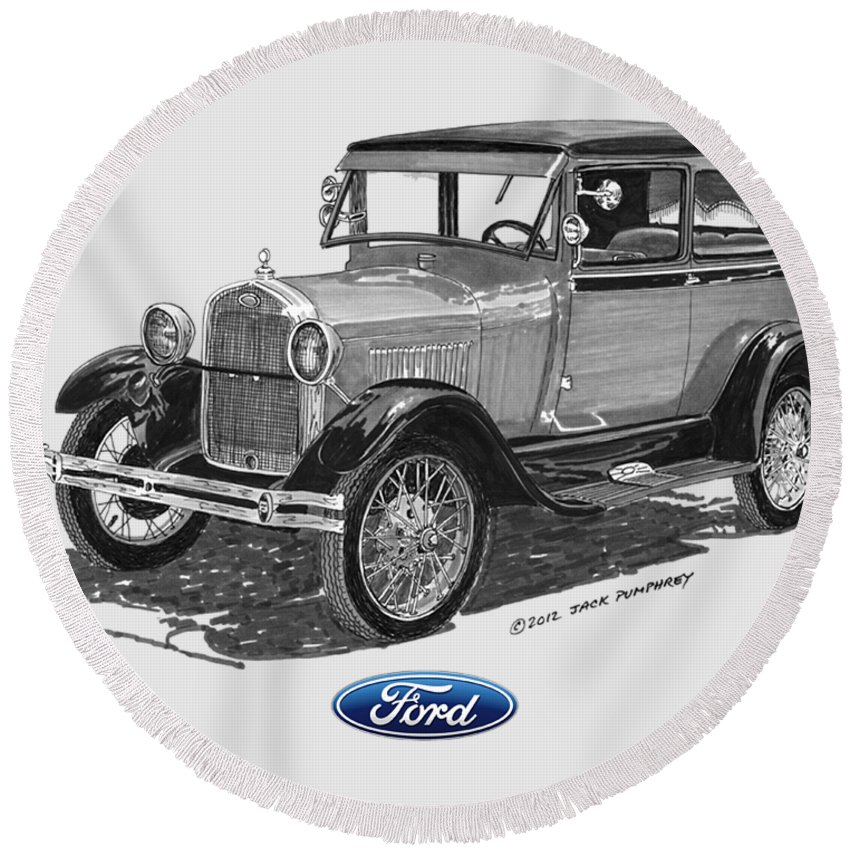 Ford Round Beach Towel featuring the painting Model A Ford 2 Door Sedan by Jack Pumphrey