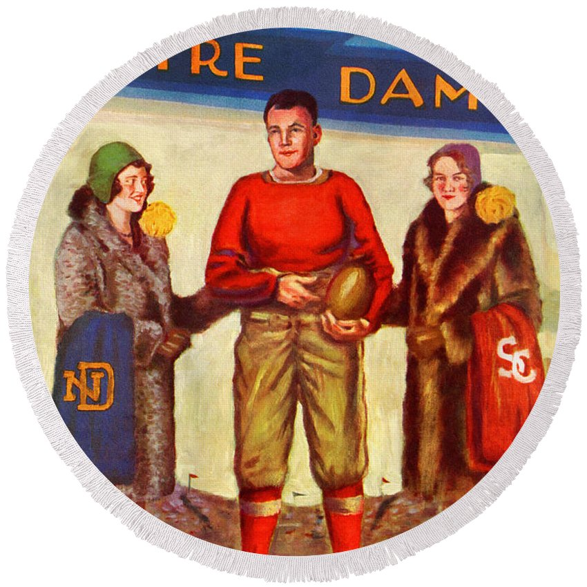Notre Dame Round Beach Towel featuring the painting 1929 Notre Dame Versus Southerncal by John Farr