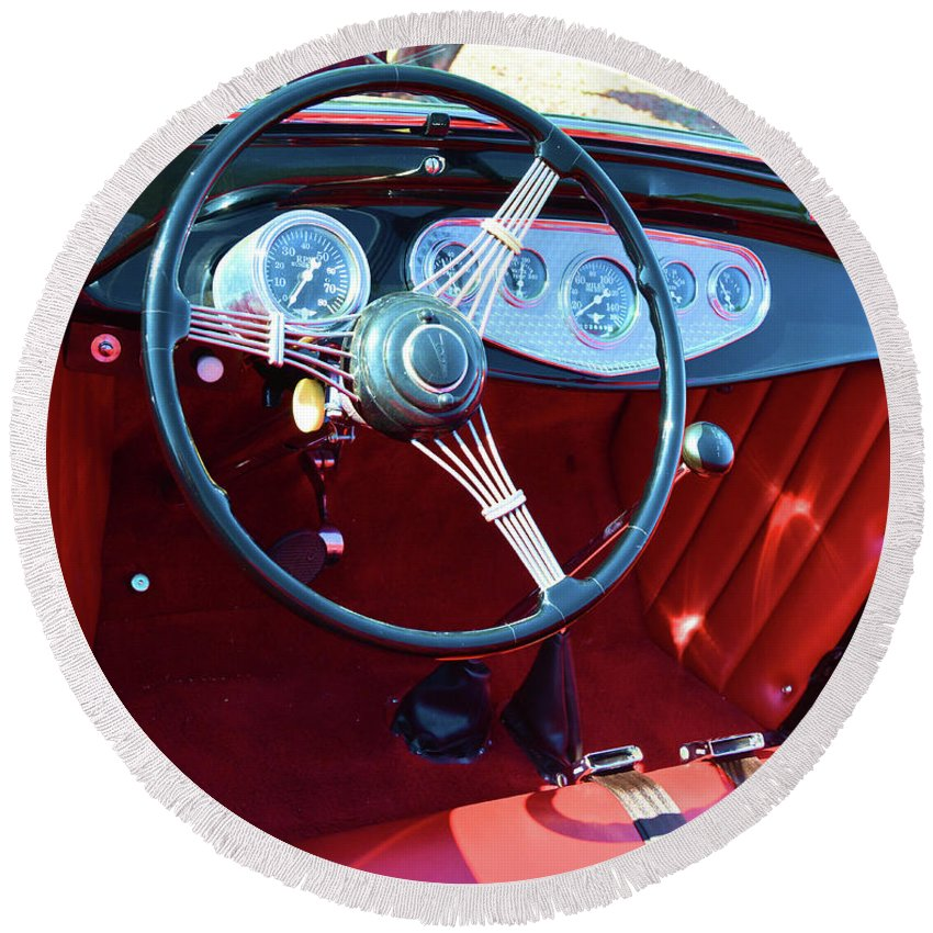 Dash Round Beach Towel featuring the photograph 1929 Roadster Dashboard by Richard Jenkins