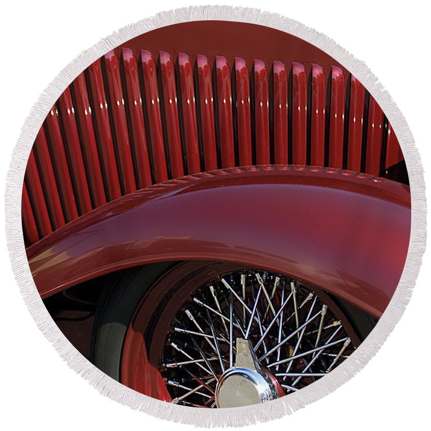 1932 Ford Round Beach Towel featuring the photograph 1932 Ford Hot Rod Wheel by Jill Reger