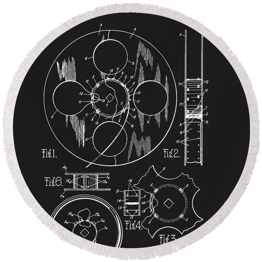 Film Reel Patent Round Beach Towel featuring the drawing 1933 Film Reel Patent by Dan Sproul