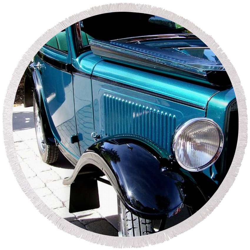 Blue Round Beach Towel featuring the photograph 1934 American Austin by Mary Deal