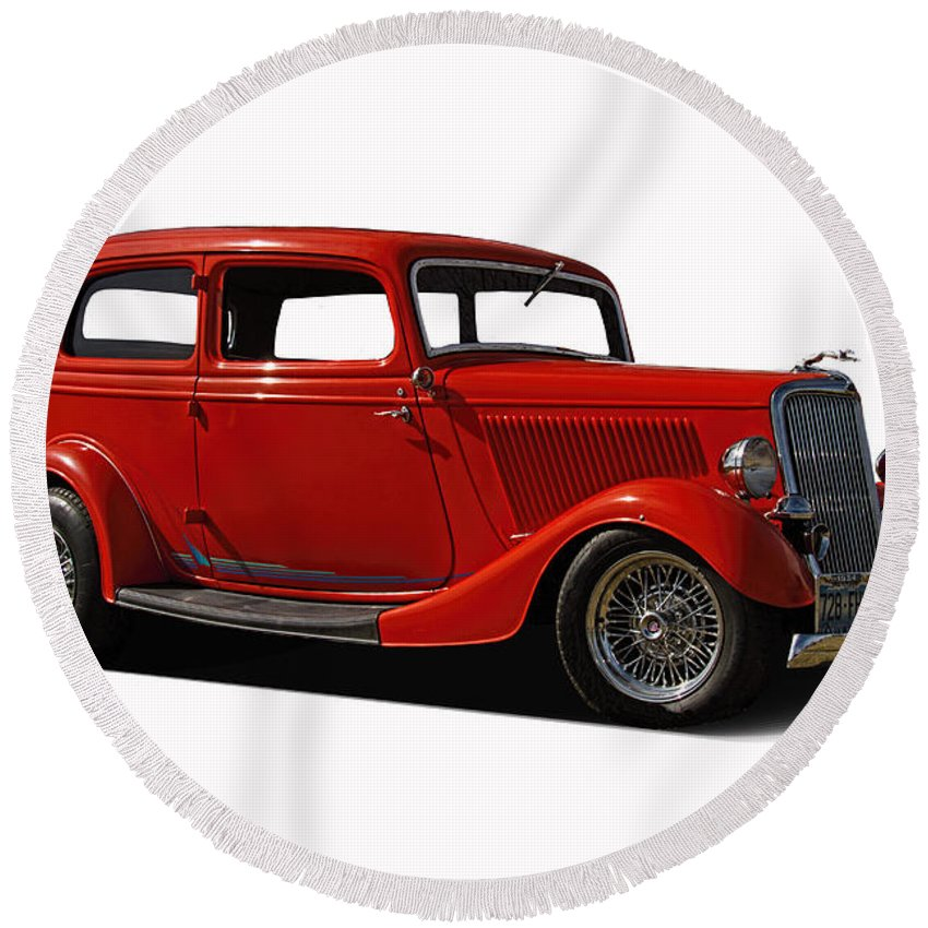 1934 Round Beach Towel featuring the photograph 1934 Ford 2 Door Sedan by Nick Gray