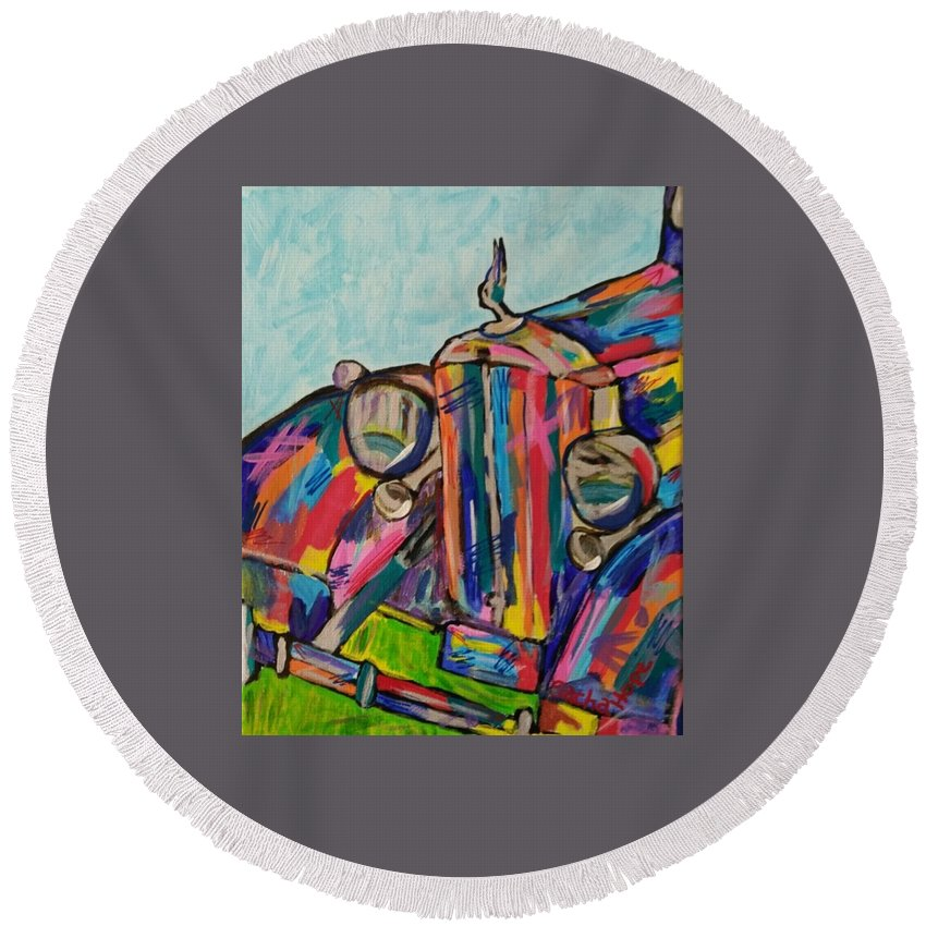 Popart Round Beach Towel featuring the painting 1934 Packard by Sacha Hope