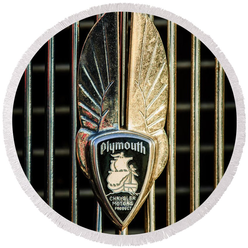 1934 Plymouth Emblem Round Beach Towel featuring the photograph 1934 Plymouth Emblem by Jill Reger