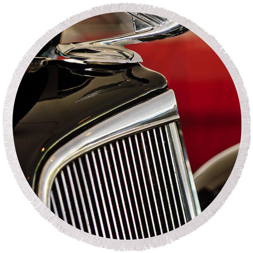 1935 Chevrolet Standard 3 Window Coupe Round Beach Towel featuring the photograph 1935 Chevrolet Optional Eagle Hood Ornament by Jill Reger