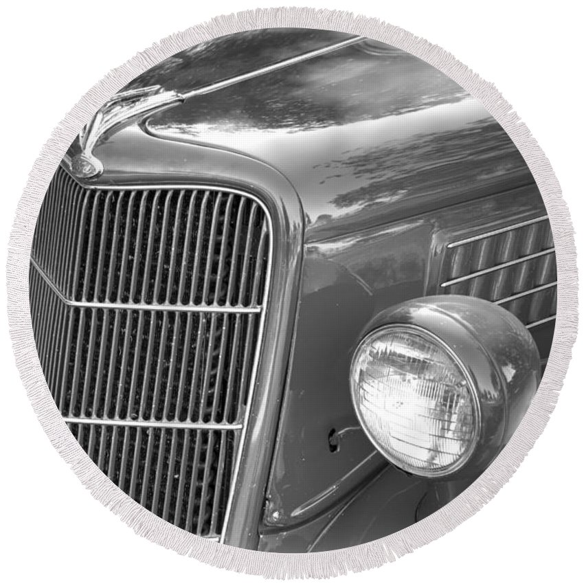 1935 Round Beach Towel featuring the photograph 1935 Ford Sedan Grill by Nick Gray