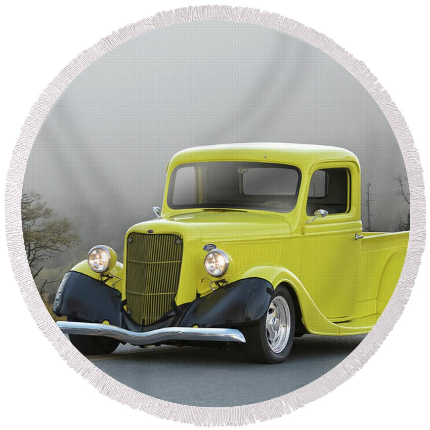 Auto Round Beach Towel featuring the photograph 1935 Ford V8 Pickup by Dave Koontz