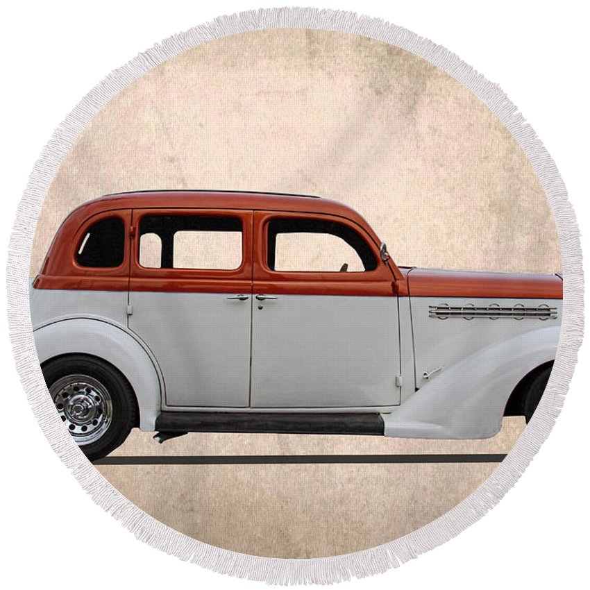 1935 Round Beach Towel featuring the photograph 1935 Plymouth by Nick Gray
