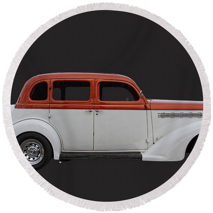 1935 Round Beach Towel featuring the photograph 1935 Plymouth Sedan by Nick Gray