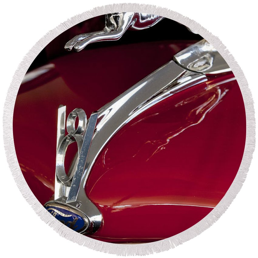 1936 Ford 68 Pickup Round Beach Towel featuring the photograph 1936 Ford 68 Pickup Hood Ornament by Jill Reger