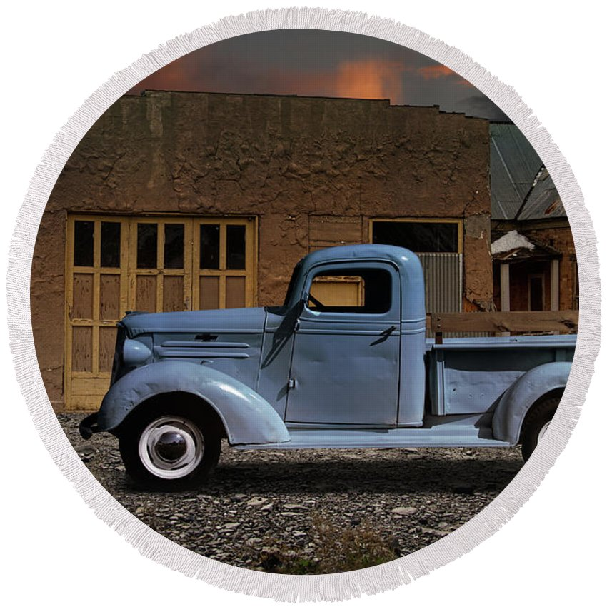 1937 Round Beach Towel featuring the photograph 1937 Chevy Pickup Truck by Nick Gray