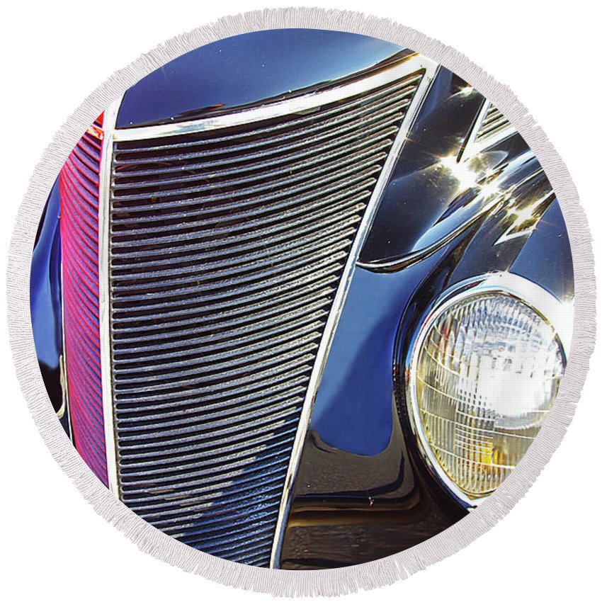 Antique Cars Round Beach Towel featuring the photograph 1937 Ford 2 Door Sedan by Rich Walter
