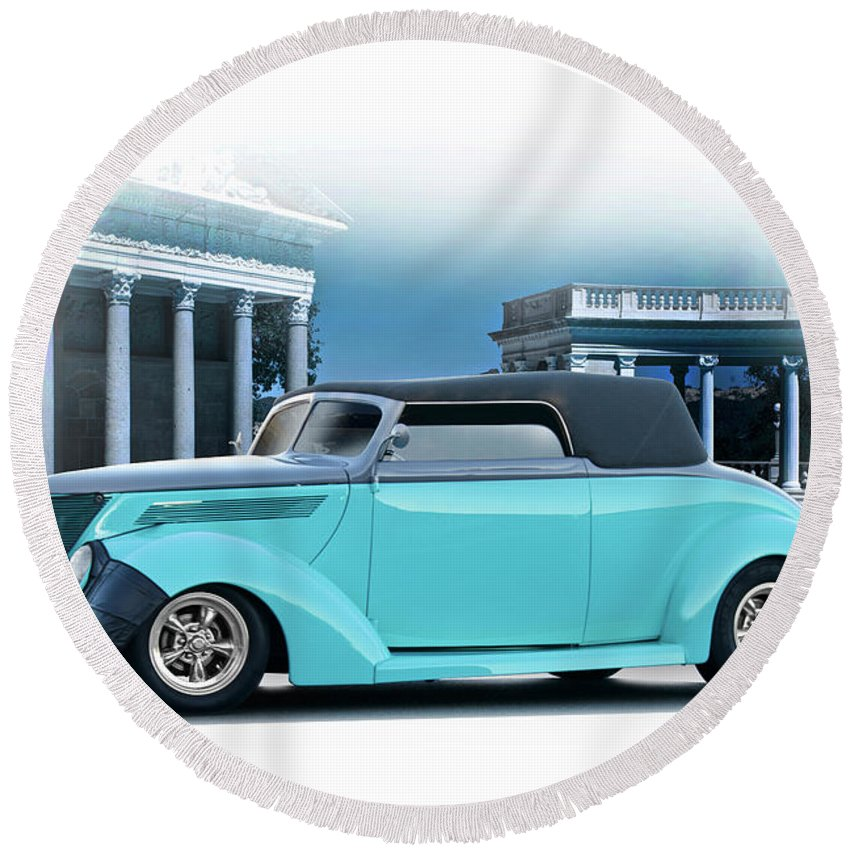 Auto Round Beach Towel featuring the photograph 1937 Ford 'classic' Cabriolet by Dave Koontz