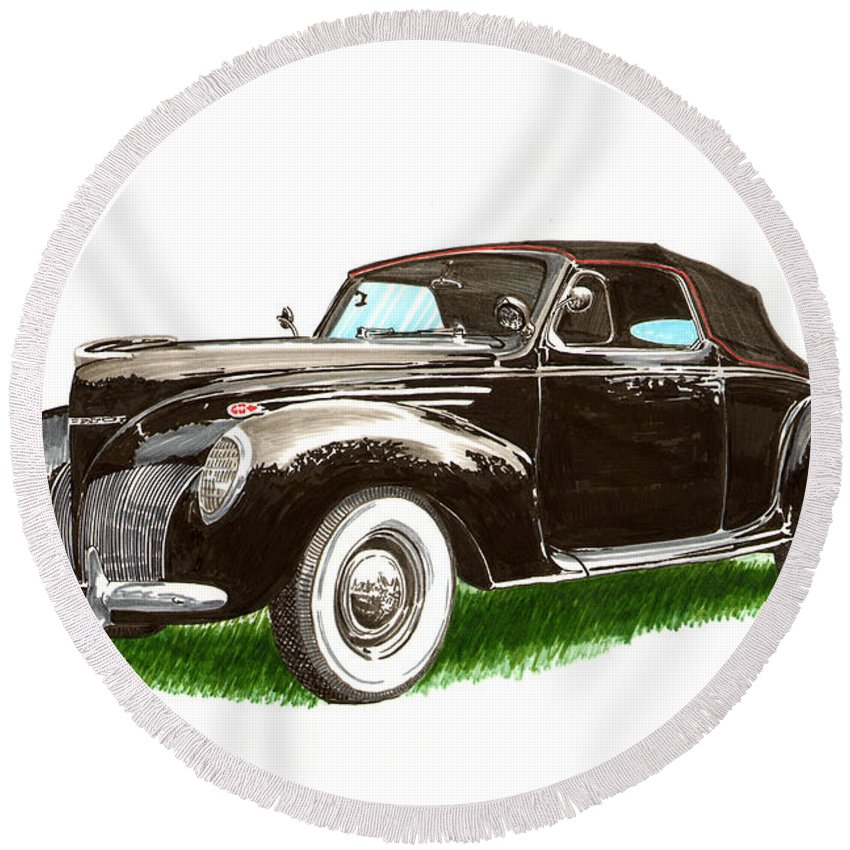 Black Convertibles Round Beach Towel featuring the painting 1937 Lincoln Zephyer by Jack Pumphrey