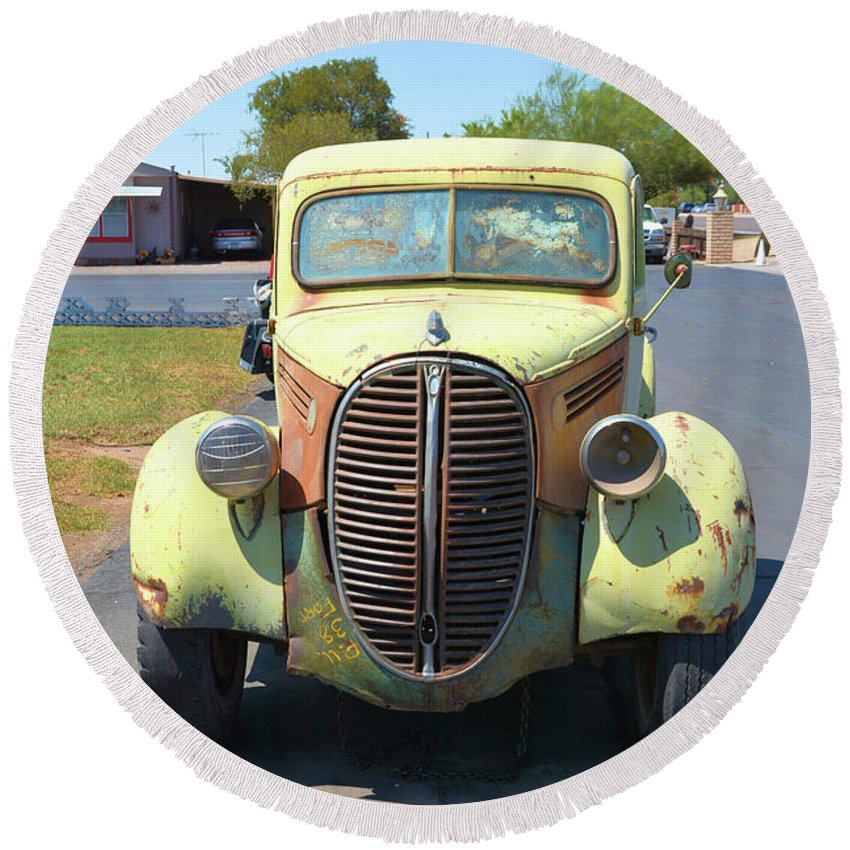 Transportation Round Beach Towel featuring the photograph 1938 Ford Truck by Richard Jenkins