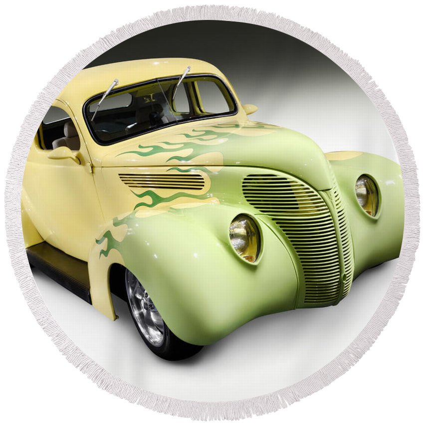 Hot Rod Round Beach Towel featuring the photograph 1938 Hot Rod Ford Coupe by Maxim Images Prints