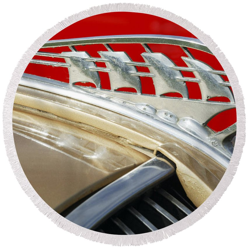 Car Round Beach Towel featuring the photograph 1938 Plymouth Hood Ornament by Jill Reger