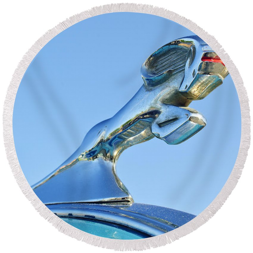 1940 Dodge Business Coupe Round Beach Towel featuring the photograph 1940 Dodge Business Coupe Hood Ornament by Jill Reger