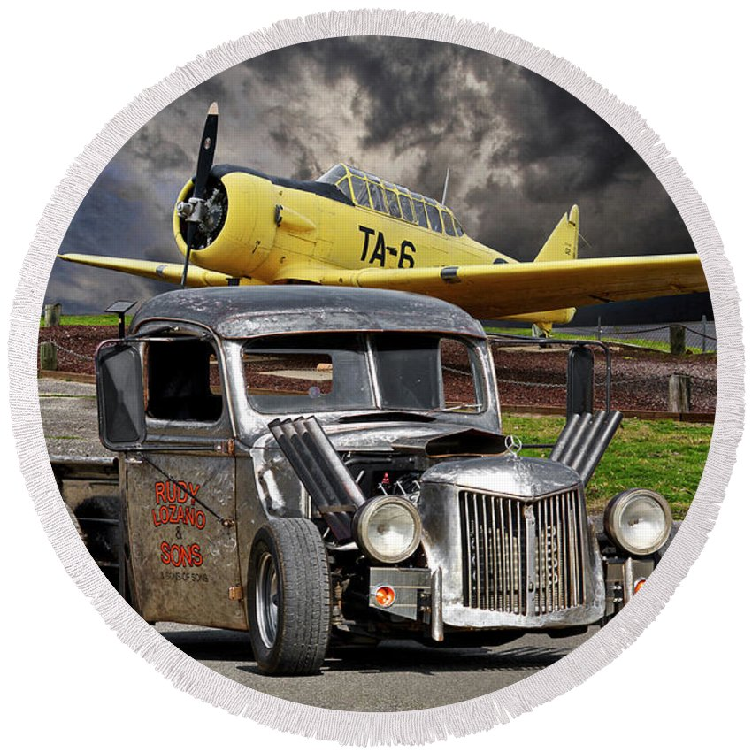 Auto Round Beach Towel featuring the photograph 1940 Ford Rat Rod Pickup IIi by Dave Koontz