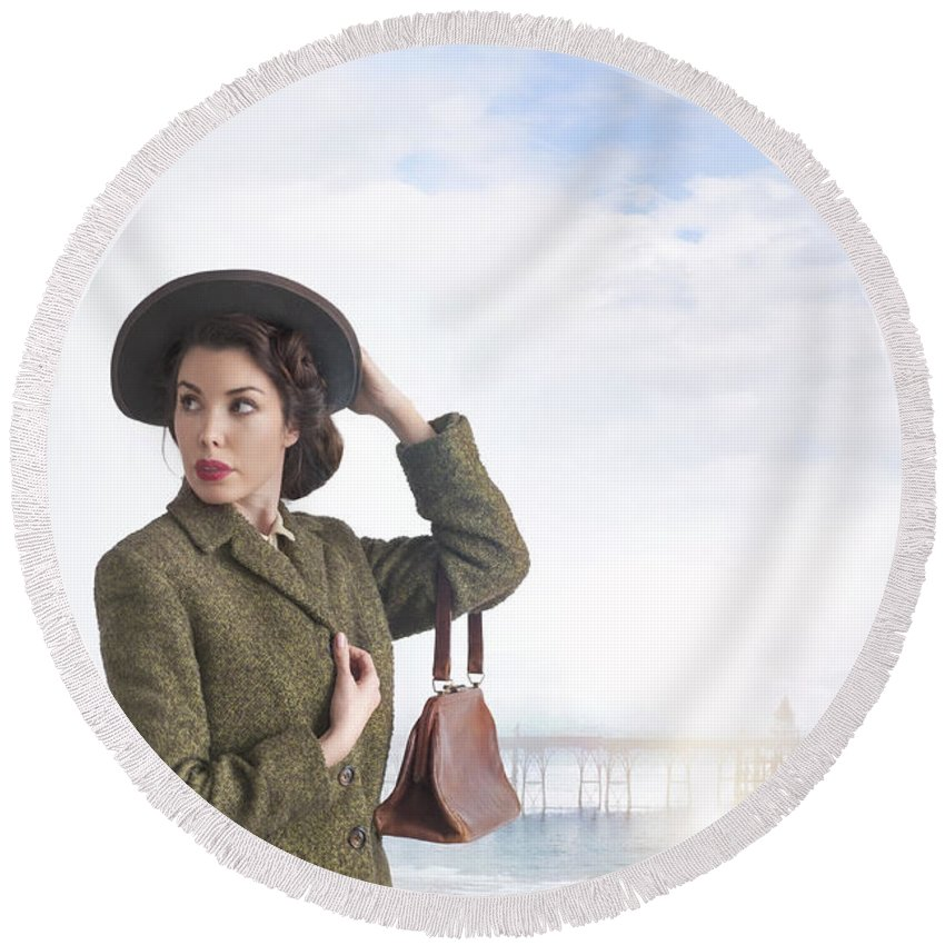 1940s Round Beach Towel featuring the photograph 1940s Woman At The Seaside by Lee Avison