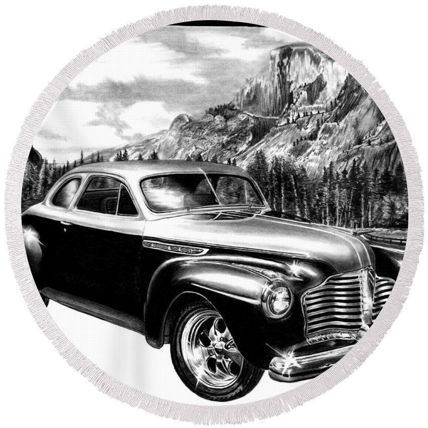 1941 Buick Roadmaster And Half Dome Round Beach Towel featuring the drawing 1941 Roadmaster - Half Dome by Peter Piatt
