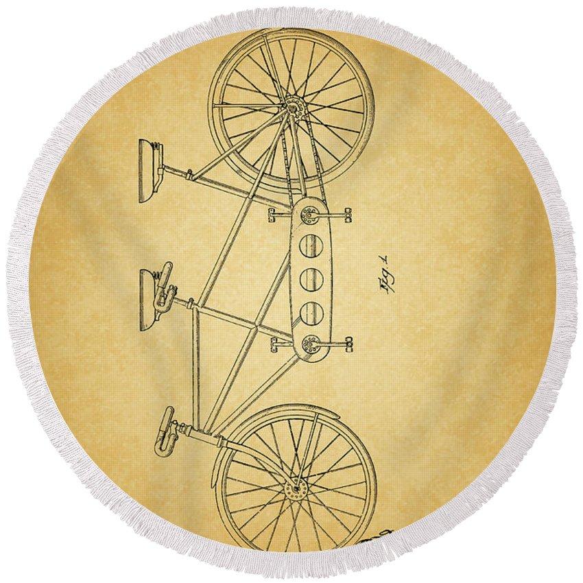 1945 Schwinn Tandem Bicycle Round Beach Towel featuring the mixed media 1945 Schwinn Tandem Bicycle by Dan Sproul