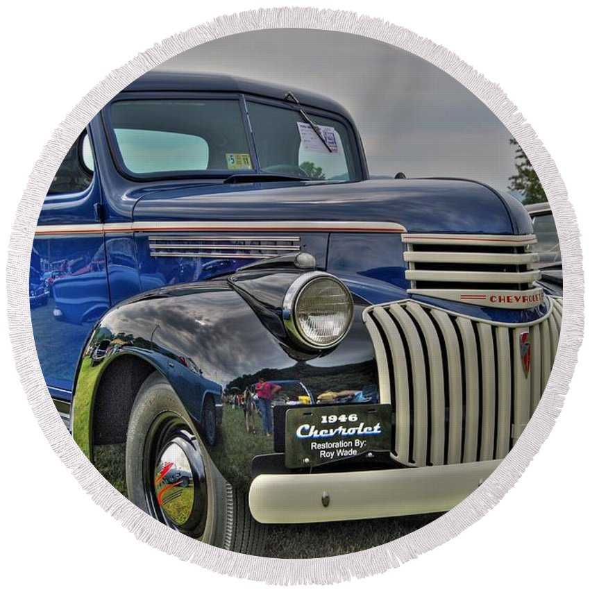 1946 Chevy Round Beach Towel featuring the photograph 1946 Chevy by Todd Hostetter
