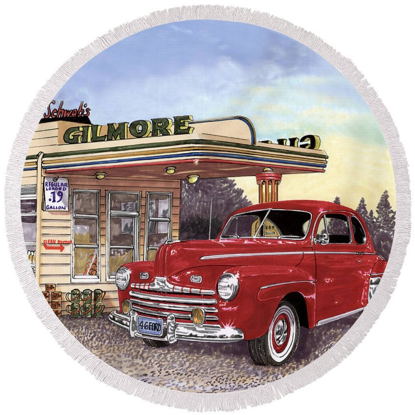 1946 Ford Deluxe Coupe Art Round Beach Towel featuring the painting 1946 Ford Deluxe Coupe by Jack Pumphrey