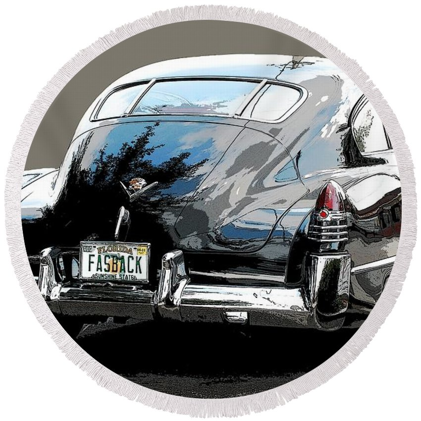 1948 Cadillac Round Beach Towel featuring the photograph 1948 Fastback Cadillac by Robert Meanor