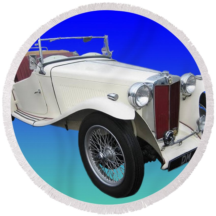 Photos Of Great British Sports Cars. Enhanced Photography Round Beach Towel featuring the photograph 1948 Mg Tc by Jack Pumphrey