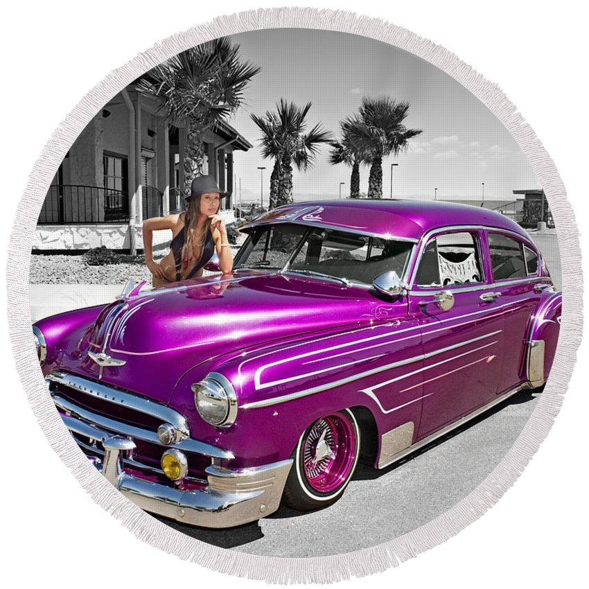 1949 Chevy Bomb Round Beach Towel featuring the photograph 1949 Chevy Bomb_ 25a by Walter Herrit