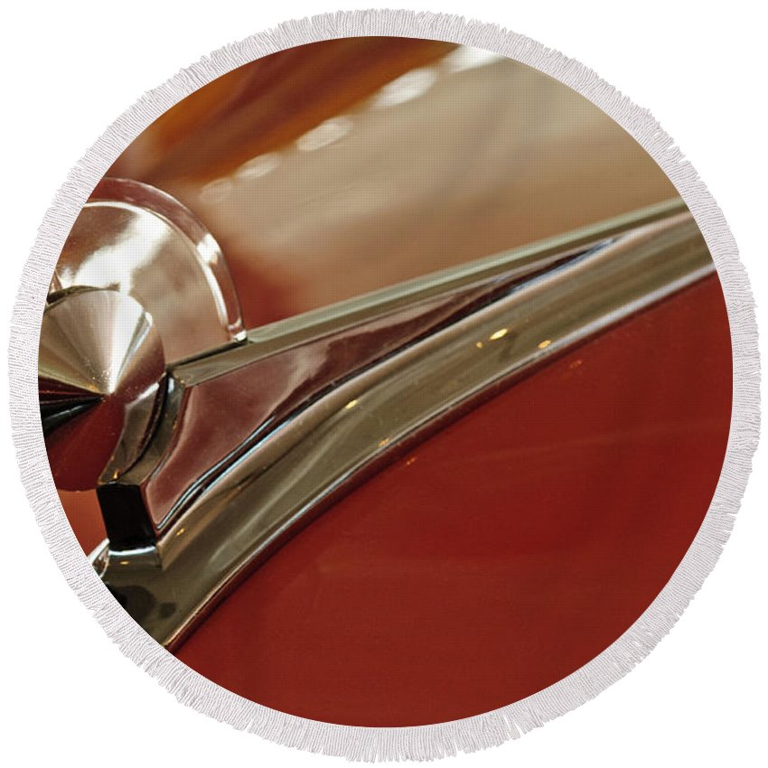 1949 Ford 2 Door Custom Round Beach Towel featuring the photograph 1949 Ford Custom Hood Ornament by Jill Reger