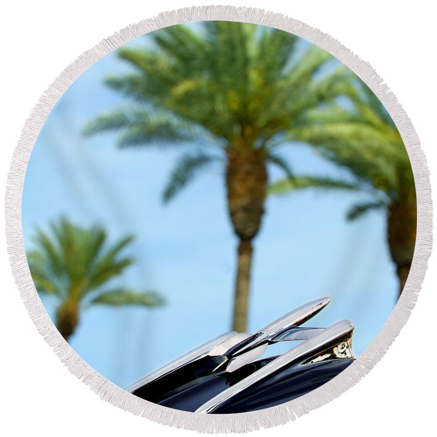 Car Round Beach Towel featuring the photograph 1950 Oldsmobile Rocket 88 Convertible Hood Ornament And Palms by Jill Reger