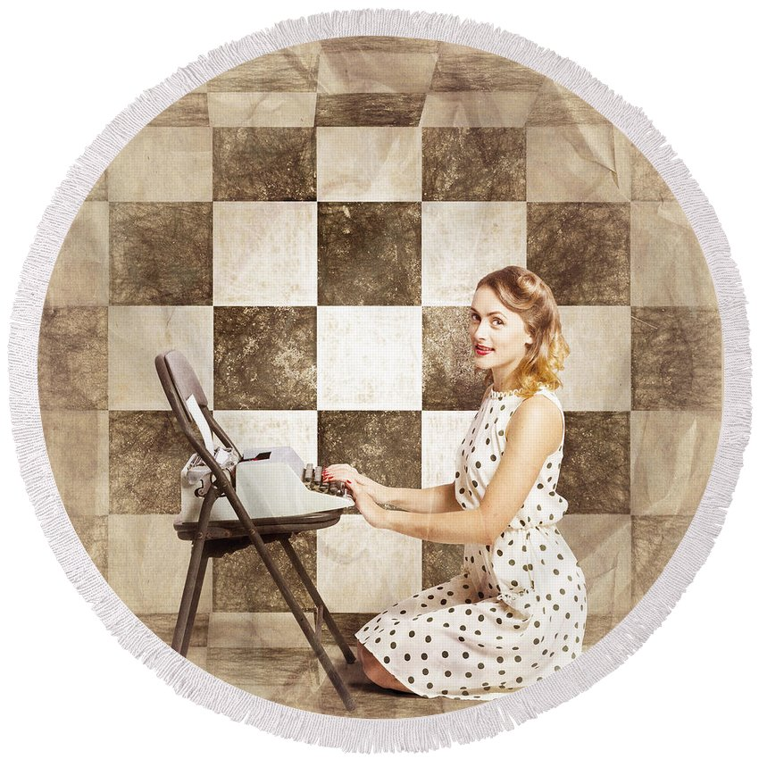 1950s Round Beach Towel featuring the photograph 1950s Fictional Pinup Writer by Jorgo Photography - Wall Art Gallery