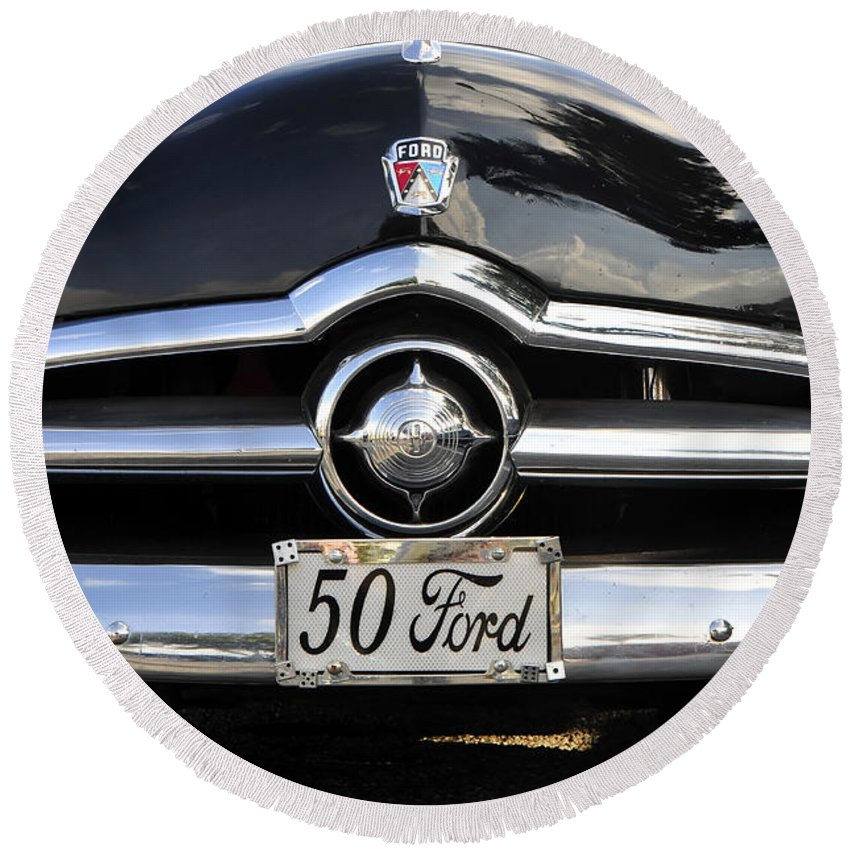 Ford Round Beach Towel featuring the photograph 1950s Ford by David Lee Thompson