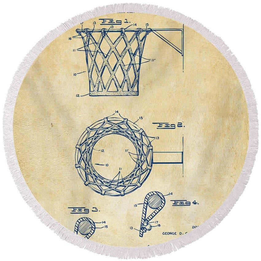 Basketball Round Beach Towel featuring the digital art 1951 Basketball Net Patent Artwork - Vintage by Nikki Marie Smith