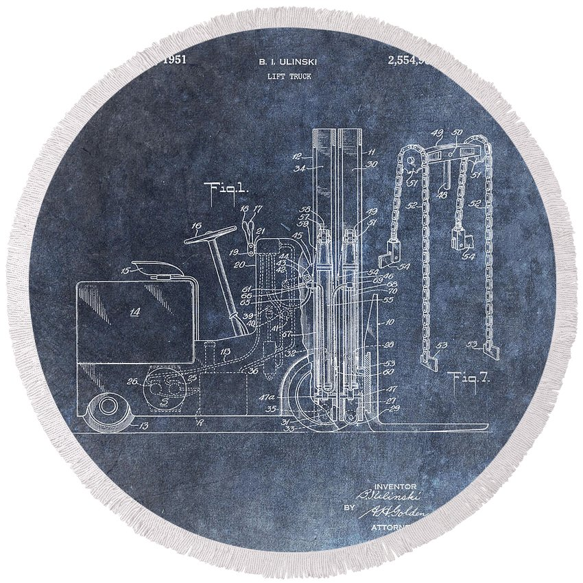 1951 Lift Truck Patent Round Beach Towel featuring the mixed media 1951 Forklift Patent by Dan Sproul