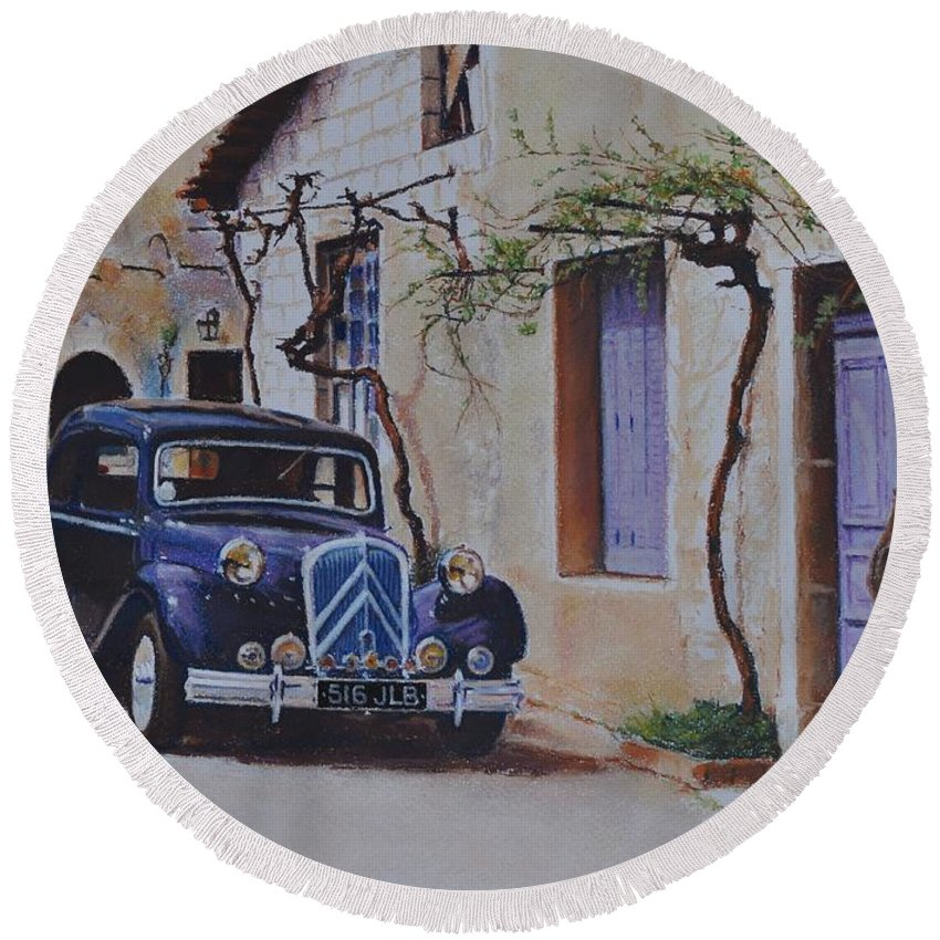 Classic Cars Round Beach Towel featuring the pastel 1951's Citroen by Iliyan Bozhanov