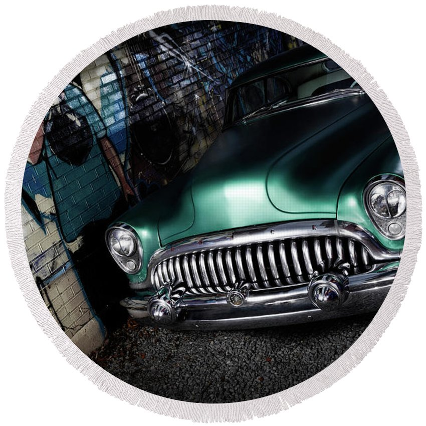 Retro Round Beach Towel featuring the photograph 1953 Buick Roadmaster by Maxim Images Prints