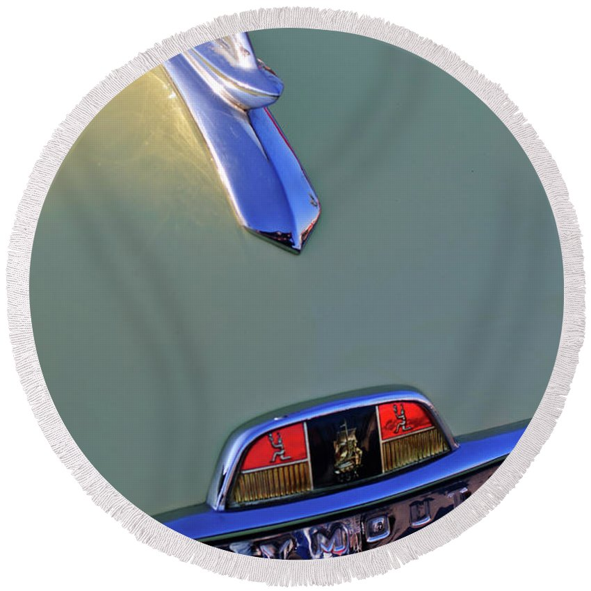 1953 Plymouth Round Beach Towel featuring the photograph 1953 Plymouth Hood Ornament by Jill Reger