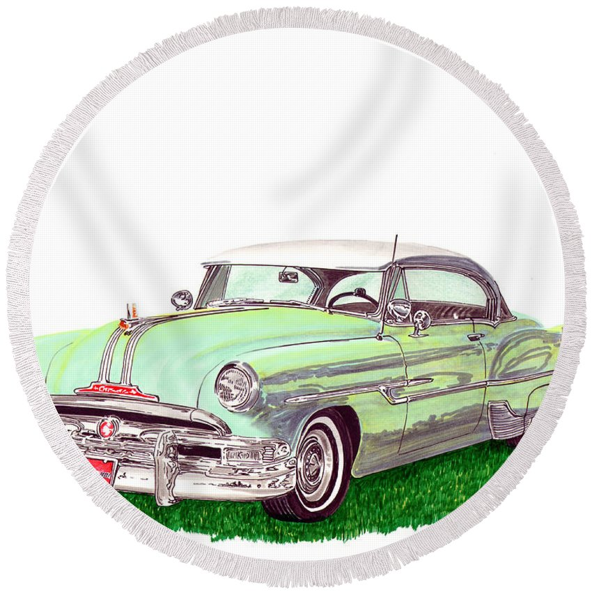 Automotive Art Of Cars From The 50's Round Beach Towel featuring the painting 1953 Pontiac Chieftain Catalina H.t. by Jack Pumphrey