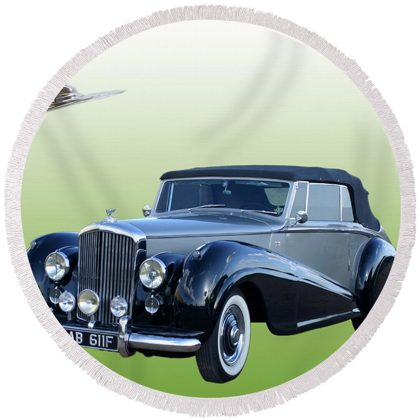 British Automotive Luxury Round Beach Towel featuring the photograph 1954 Bentley Drop Head Coupe by Jack Pumphrey