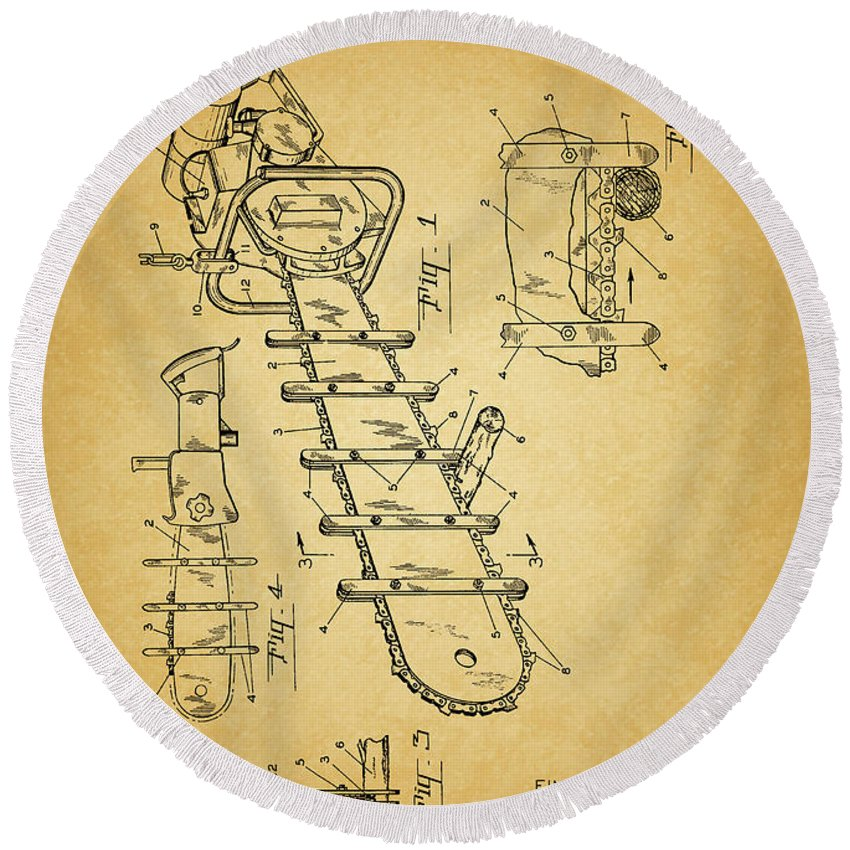1954 Chainsaw Patent Round Beach Towel featuring the mixed media 1954 Chainsaw Patent by Dan Sproul