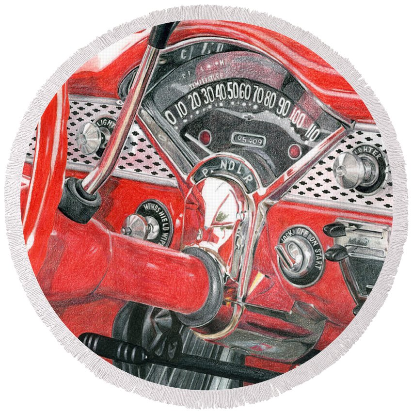 Classic Round Beach Towel featuring the drawing 1955 Chevrolet Bel Air by Rob De Vries