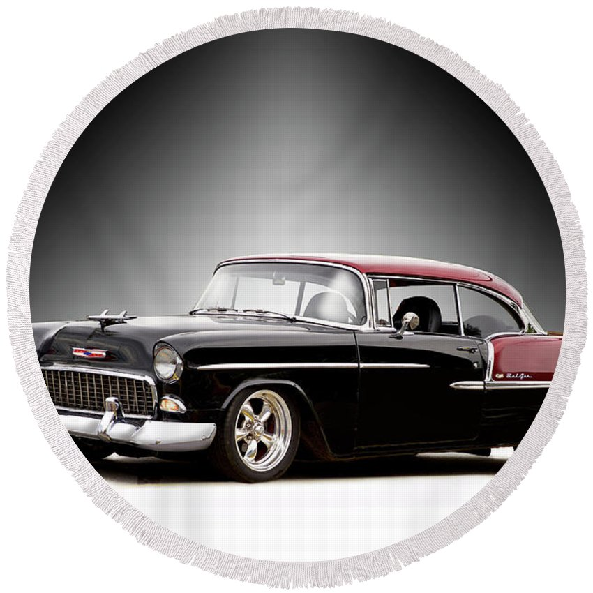 Auto Round Beach Towel featuring the photograph 1955 Chvrolet Bel Air 'nor Cal Style' II by Dave Koontz